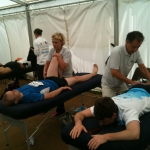 Innersights tutors Susan Richardson and Mario Paul Cessar providing massages to the Reigate Half Marathon runners
